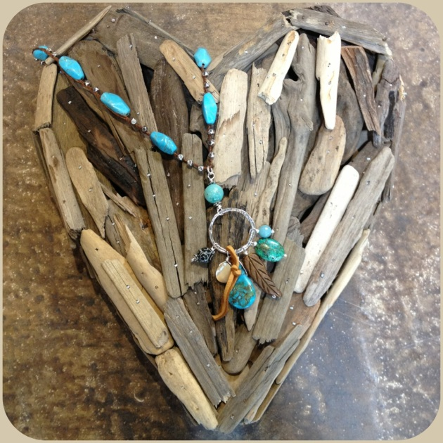 Driftwood hearts or a rustic turquoise and leather neclace.... so so so beautiful!