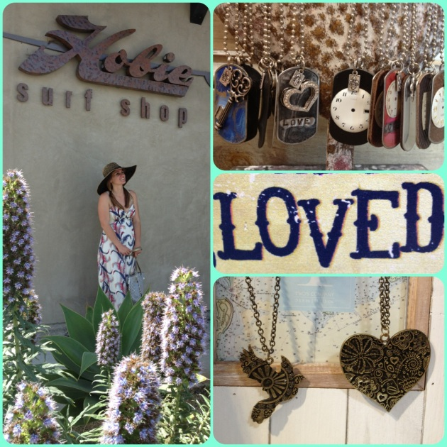 "Maxi dresses, long necklaces, and summery beach hats, with a little sign that says ""You are loved""!"