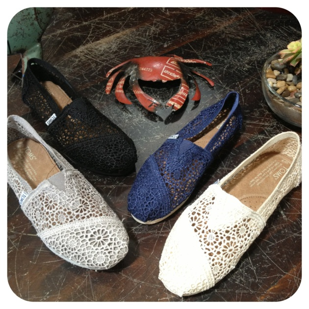 "Crochet TOMS... when you give your mom the gift of Toms, you also give a pair of shoes to a person in need through Toms ""One For One"" program."